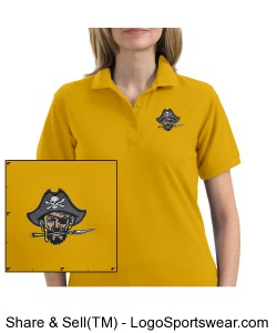 Continental Pirates Ladies Silk Touch Sport Shirt - Yellow Design Zoom