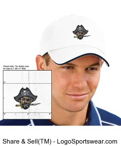 Continental Pirates Hat - Six Panel Low Profile Athletic Mesh Flexfit - White Design Zoom