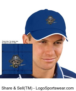 Continental Pirates Hat - Six Panel Low Profile Athletic Mesh Flexfit - Royal Blue Design Zoom