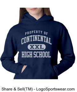 Continental Pirates Youth Hooded Pullover Sweatshirt Design Zoom